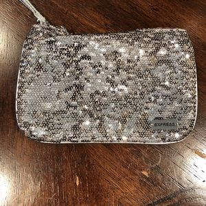 Silver sequin express wristlet